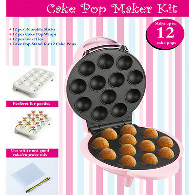 Electric Non Stick Cake Pop Cupcake Doughnut Muffin Maker Kids Party Gadget Pink