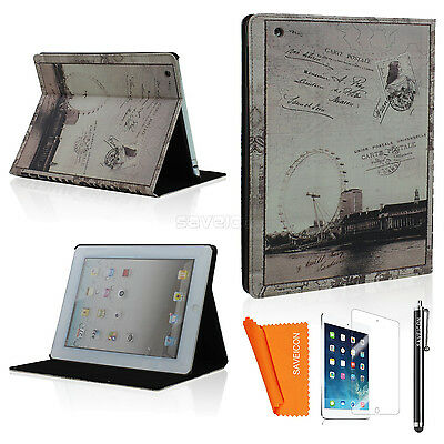 Retro Classic Book Design Smart Case Cover For iPad 2 3 4 iPad Mini with Stand