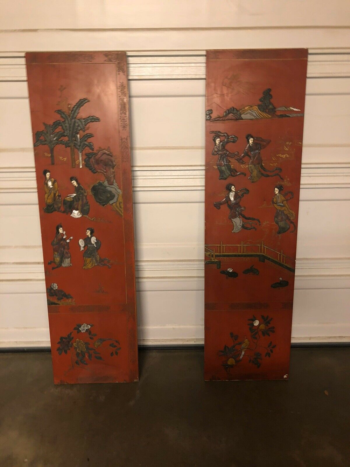 Antique Chinese Room Divider 2 Panel Screen Wall Art Decor Wired For Hanging For Sale Online