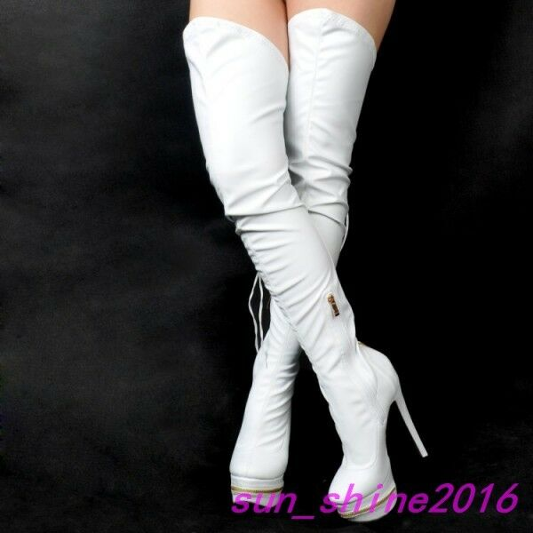 Sexy Womens PU Over the knee Boots High Heels Platform Zip Stiletto Long Shoes