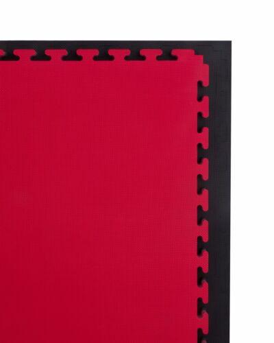 Cannons UK 30mm Martial Arts Mats Karate Taekwondo 1m x1m interlocking Black Red
