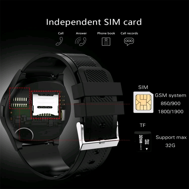 SMARTWATCH PHONE, MAKE AND RECEIVE CALLS USING SIM AND MEMORY CARD