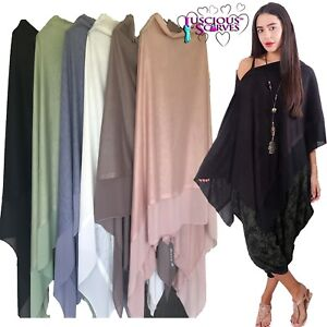 PONCHO, MULTI WAY LIGHT WEIGHT SOFT WOOL BLEND / COVER UP WITH CHIFFON PANEL.