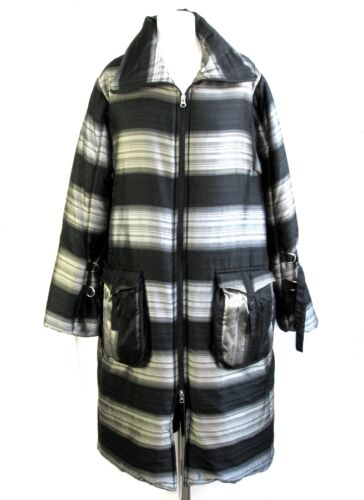 LAUREN VIDAL COAT DOWN JACKET BLACK BEIGE SILVER SIZE M = 42 NEW & ETIQU