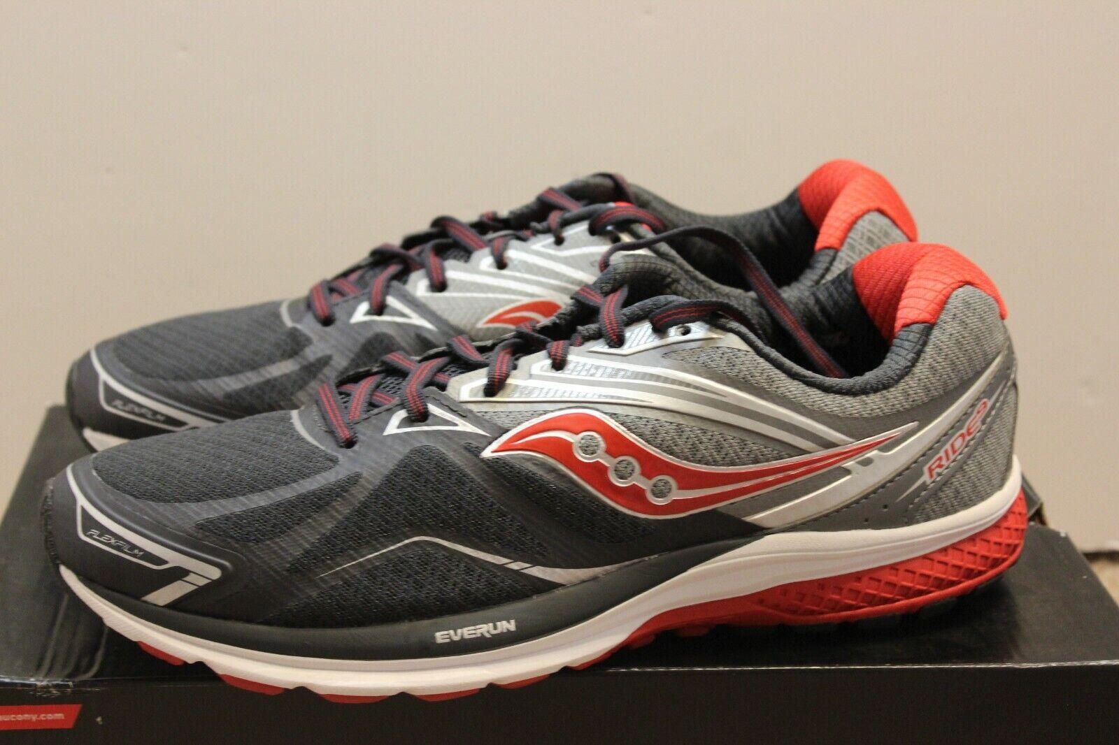 Saucony Ride 9 para hombres Zapatos tenis De Correr gris Carbón Rojo
