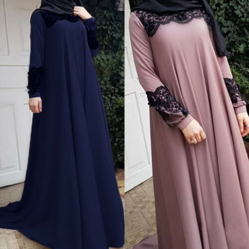 Muslim Women Abaya Kaftan Maxi Dress Long Kaftan Party Gown Jilbab Robes Arab