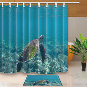 Details About Green Sea Turtle Swimming In The Ocean Shower Curtain Bathroom Decor 12hooks