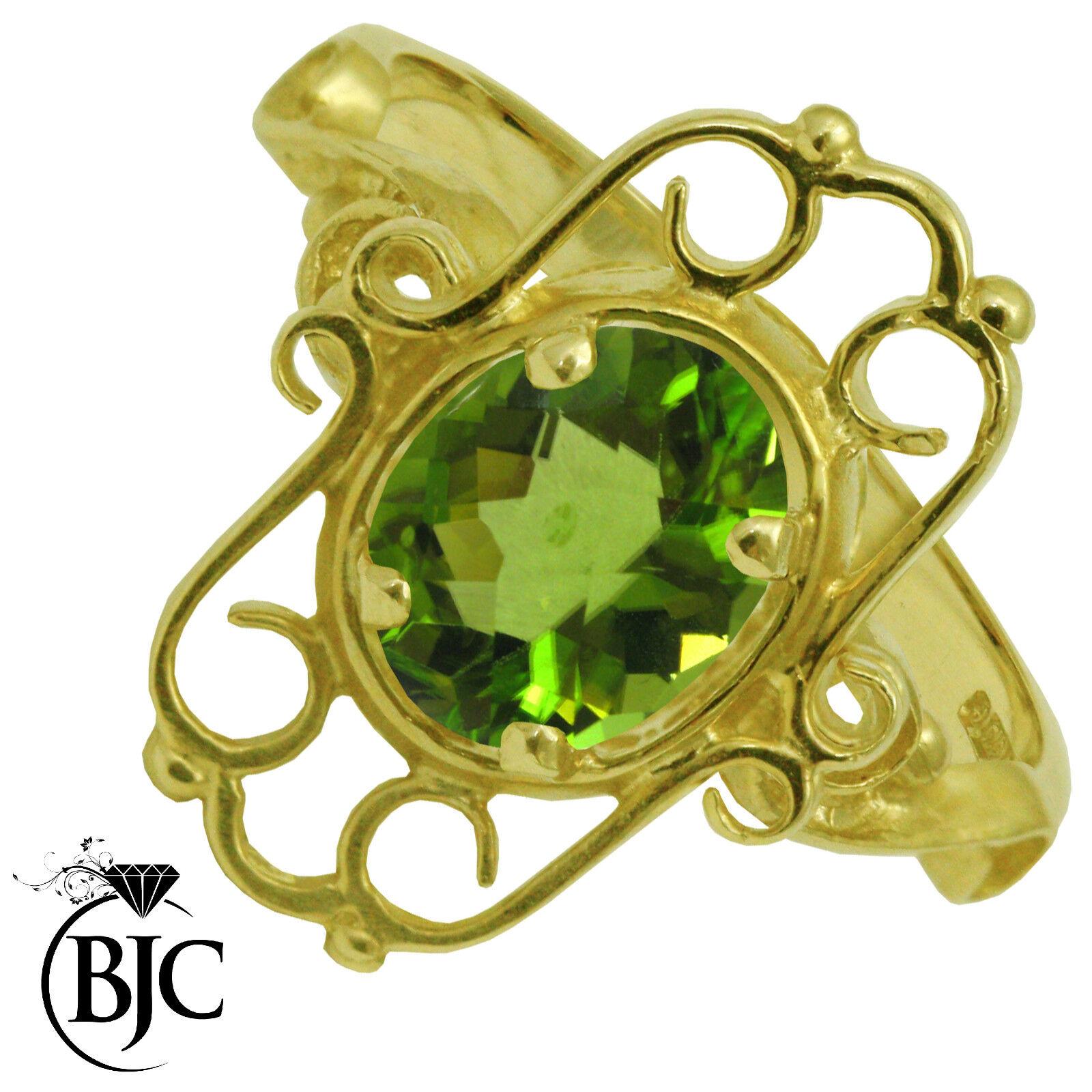 BJC 9 ct peridoto y gold yellow 1ct Estilo Victoriano size O