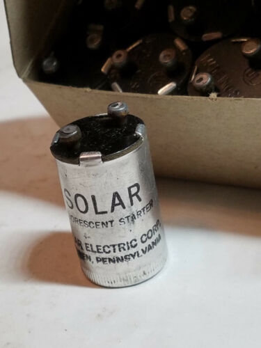 Lot 10 Vintage SOLAR Fluorescent Light Starters #FS2 15 to 20 Watt Lamps NOS