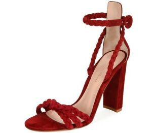 3d18dc7cf78 BNIB  GIANVITO ROSSI - Braided 105 Red Suede Ankle Strap Sandals ...