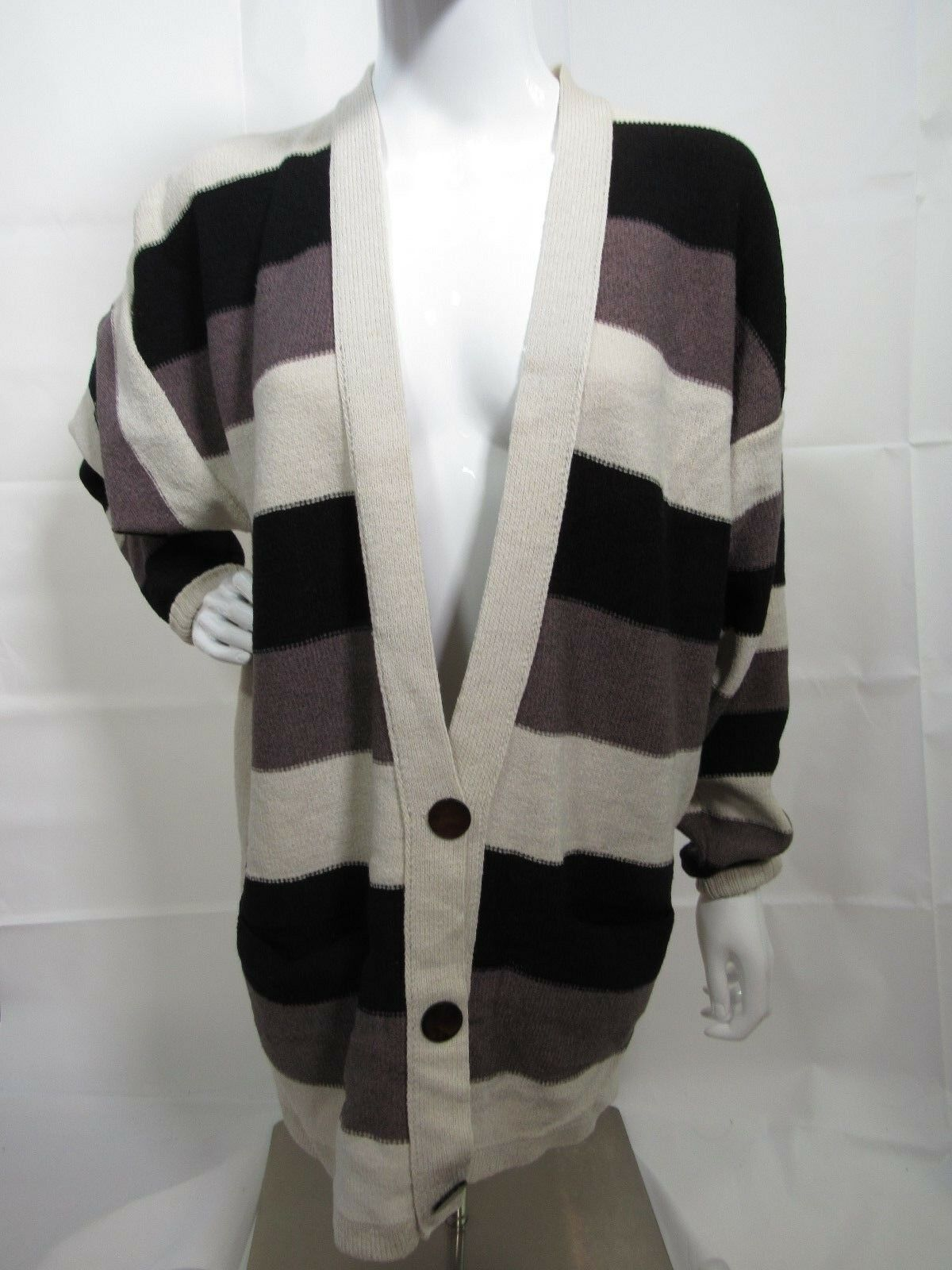 Steve Fabrikant Striped Button Down Oversized Cardigan Size Small