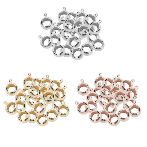 300pcs Gold//Silver//Rosegold Plated Bail Beads European Charms Pendant Hanger