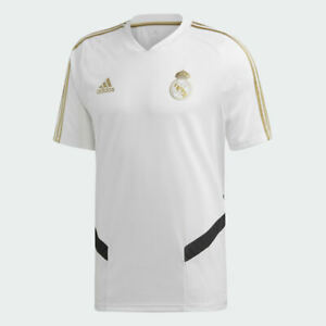 Details about ADIDAS REAL AUTHENTIC MADRID TRAINING JERSEY WHITE & GOLD SIZE LARGE / X-LARGE