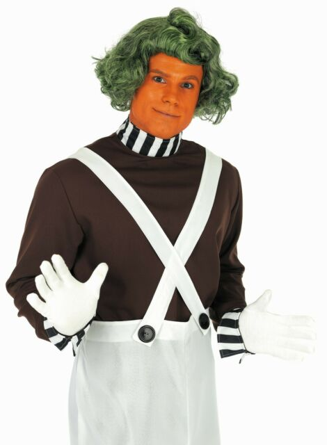 ADULTS FACTORY WORKER WIG GREEN CHOCOLATE FANCY DRESS BOOK WEEK FILM CHARACTER