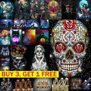Хэллоуин самодельный цветочный череп 5D бриллиант картина вышивка крестом декор комплект