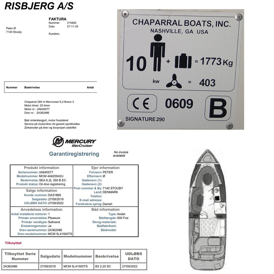 Chaparral 290 MerCruiser 6.2L 350hk SeaCore Bra...