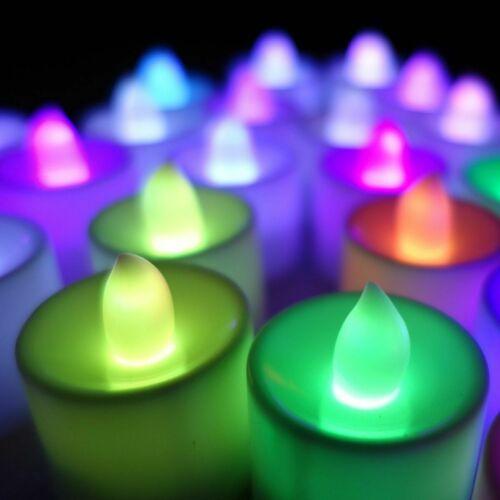 24 pcs Rainbow 7 Colors Wedding Battery Sub LED Lights