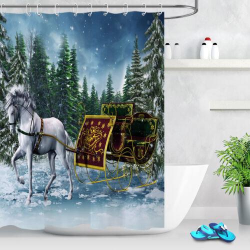Winter Forest White Horse Sleigh Waterproof Shower Curtain 12Hook /& Bathroom Mat