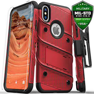 best deals on 51044 e906c Details about iPhone X / Xs / Xs Max / XR case, Zizo BOLT Screen Protector  Holster Kickstand