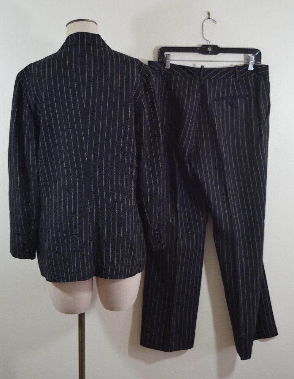 Ralph Lauren Womens Wool linen Black Striped Care… - image 8