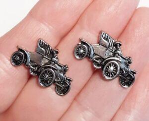 Vintage-Figural-Antique-Automobile-Auto-Car-Silvertone-Pat-Pend-Cuff-Links