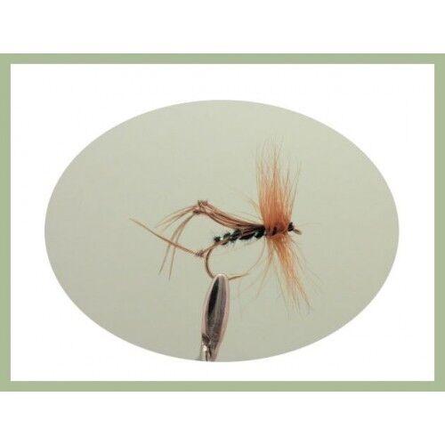 Bristol cicadelles taille au choix Truites mouches 18 Black Brown /& Orange Pêche mouches