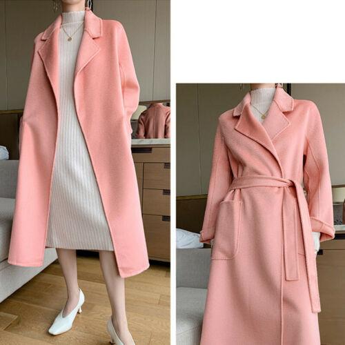 Women/'s Winter Double-side Cashmere Overcoat Belt 100/% Wool Trench Coat
