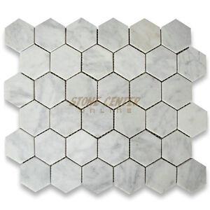 "C31XH Carrara White Marble 1/"" Hexagon Mosaic Tile Honed Italian Wall Flooring"