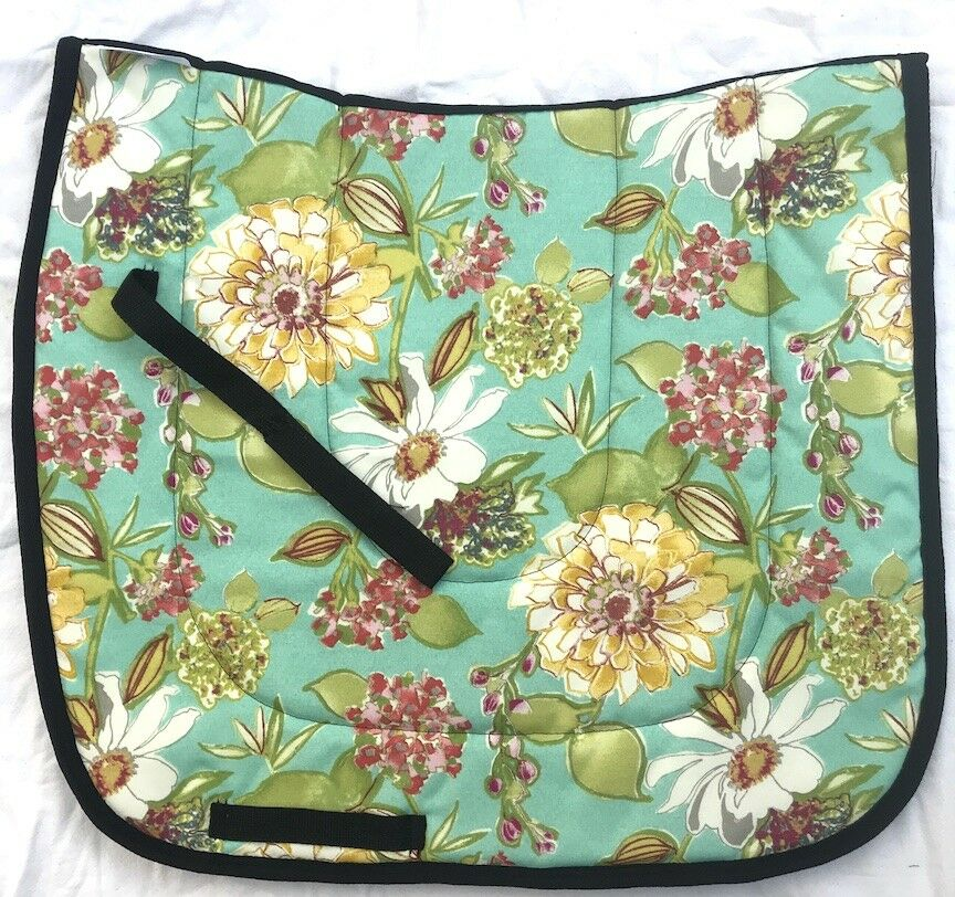 PRETTY    TURQUOISE FLOWERS    DESIGNER DRESSAGE SADDLE PAD  one of a kind  cheap designer brands