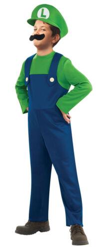 Kids Boys Bros Fancy Dress Luigi Plumber Bros Costume Outfit Halloween