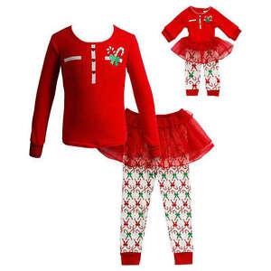33860bd9b0 Dollie Me Girl 4-14 and Doll Matching Christmas Tutu Pajama Outfit ...