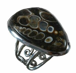 Handmade-925-Solid-Sterling-Silver-Ring-Natural-Mushroom-Jasper-US-Size-7-5-R414