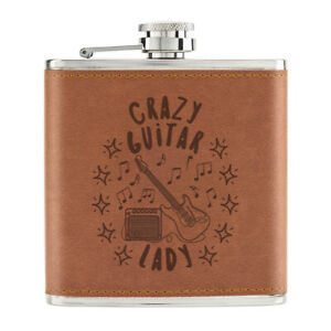 Crazy-Guitare-Lady-Stars-170ml-Cuir-PU-Hip-Flasque-Brun-Maman-Mothers-Jour-Drole