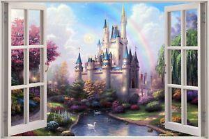 Huge-3D-Window-view-Fairy-Tale-Castle-Princess-Wall-Sticker-Mural-Art-Decal-941