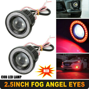 Red-2-5-034-Inch-COB-LED-Car-Fog-Light-Projector-Angel-Eyes-Halo-Ring-DRL-Bulb-Lamp