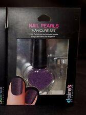 1 Claire's Nail Glass Bead Pearls Manicure Set Lavendar Purple