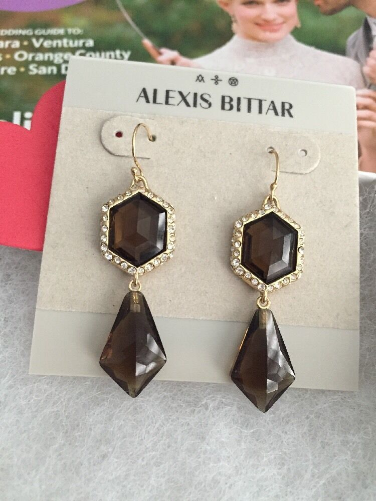 Alexis Bittar earrings 2.2  w. Swarovski Crystals Brown 14k gold Plated NEW 195