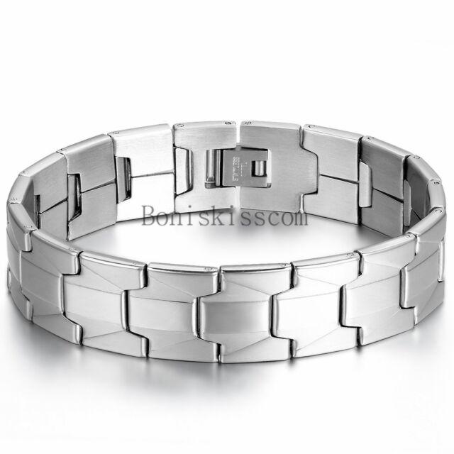 Charm 16mm Wide Men S Bracelet Stainless Steel Link Cuff Bangle