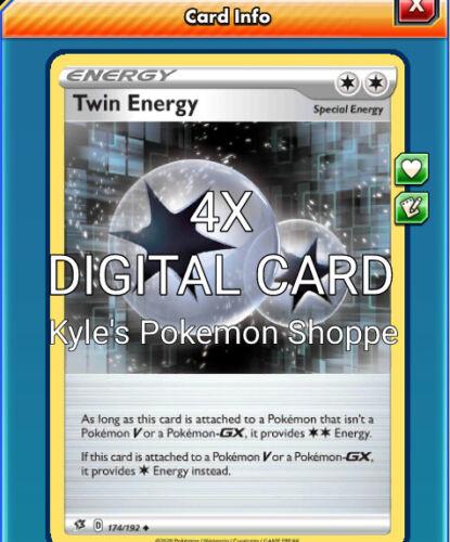 Twin Energy 4X Pokemon TCG Online PTCGO SENT FAST 174//192 DIGITAL CARD REBEL CLA