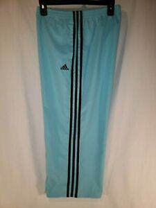 Adidas-Large-Capri-Pants-Climalite-Drawstring-Athletic-Blue-with-3-Brown-Stripes