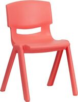Red Plastic Stackable School Chair With 13.25 Seat Height - Activity Chair