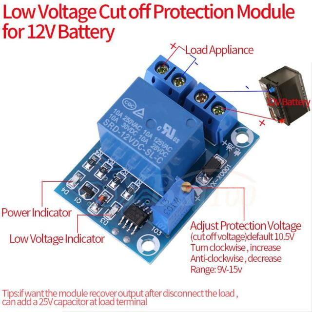 12V Battery Low Voltage Cut off Switch Controler Excessive Protection Module IS