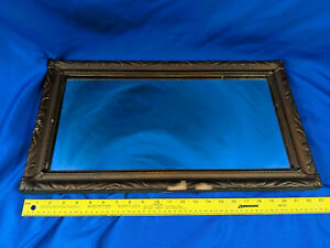 Antique Wood Gold Gesso Gilt Mirror 23x13 Picture Frame Victorian Hall Shaving