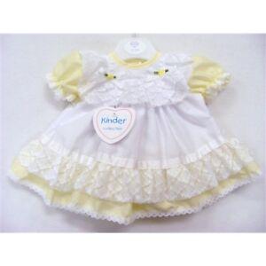 8891faa63 Baby Girls Traditional Romany Lemon/White Ribbon & Lace Frilly Dress ...