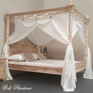 NOW-TAKING-ORDERS-Teak-Hand-Carved-Four-Poster-Bed-PAY-DEPOSIT-FOR-NEXT-SHIPMENT