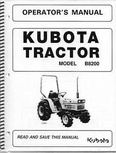 kubota b8200 tractor operator's manual w/wiring schematics ...  ebay