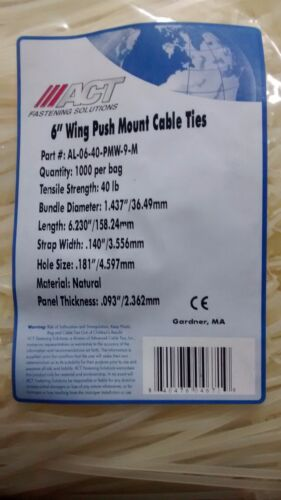 ACT Wing Push Mount Cable Ties AL-06-40-PMW-9-M