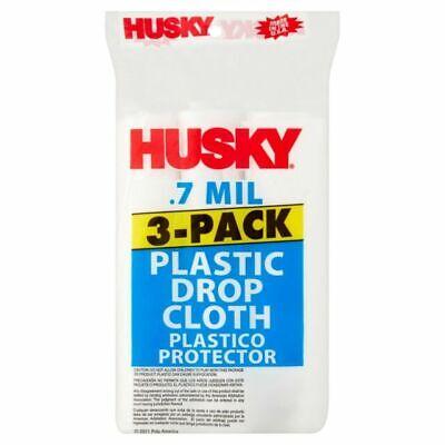 4 Husky Floor Protection Plastic Drop Cloth 9FTx12FT.4MIL 108 SQFT 4 Pack