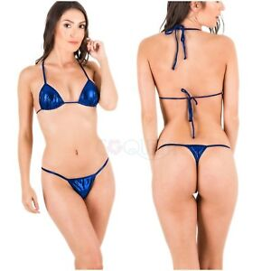 Thong Royal Bikini Coqueta About Metallic Blue Details Brazilian G String Set Swimsuit Micro 0PkOX8nw