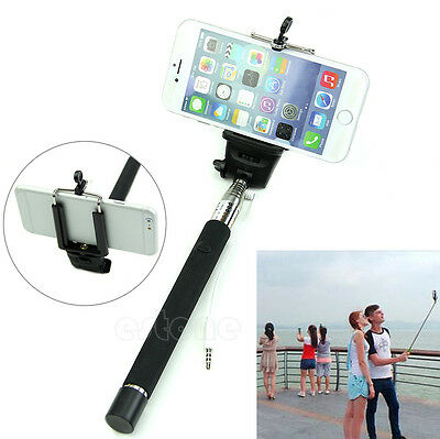 Extendable Wired Selfie Stick Holder Remote Shutter Monopod For iPhone 6 Samsung
